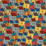Городок взгляда панорамы старый иллюстрация ландшафта города иллюстрация штока