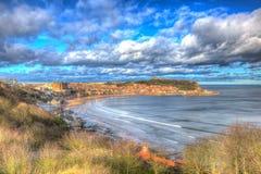 Городок взморья Scarborough северного Йоркшира Англии Великобритании в красочном hdr Стоковая Фотография RF