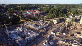 Городок Вильнюса старый с республикой Uzupis в предпосылке Свет захода солнца Литва акции видеоматериалы