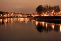 Городок Вильнюс старый на ноче Стоковая Фотография RF