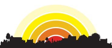 городок восхода солнца иллюстрация штока