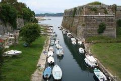 городок Греции крепости corfu Стоковая Фотография