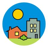 Городок, группа в составе дома, покрашенная иллюстрация на рамке круга Стоковые Фотографии RF