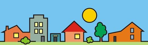 Городок, группа в составе дома, покрашенная иллюстрация Стоковое Фото