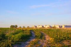 городок домов поля новый Стоковые Изображения RF