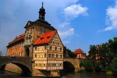 городок залы моста средневековый Стоковое Изображение