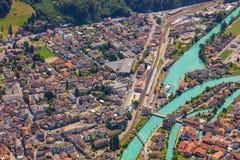 Городок Интерлакена как увидено от Mt harder Стоковое Изображение
