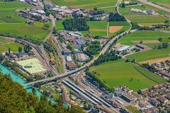 Городок Интерлакена как увидено от Mt harder Стоковые Фото