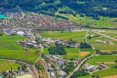Городок Интерлакена как увидено от Mt harder Стоковые Изображения