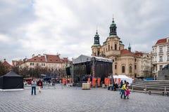 городок квадрата республики prague лошади экипажа чехословакский нарисованный старый Стоковое Фото