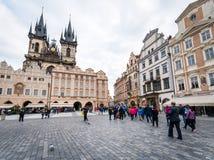 городок квадрата республики prague лошади экипажа чехословакский нарисованный старый Стоковое Изображение RF