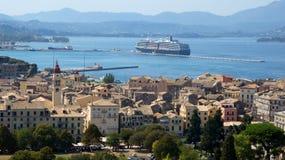 Городок Корфу от старого форта в Греции Стоковые Фотографии RF