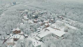 Городок коттеджа зимы видеоматериал