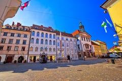 Городок Любляны старый мостить взгляд улицы и здание муниципалитета Стоковое Изображение RF