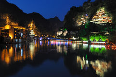 Городок на ноче Zhenyuan Стоковая Фотография