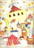городок ночи рождества счастливый Стоковые Изображения