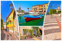 Городок озера Garda открытки Lazise туристской стоковая фотография