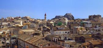 городок панорамы corfu стоковая фотография
