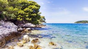 Городок пляжа Rovinj в Хорватии Стоковое Изображение