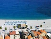 городок пляжа Scilla, Италии стоковые изображения rf