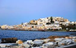 Городок путем выравниваться, остров Chora старый Naxos стоковые фотографии rf