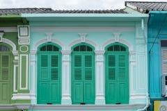 Городок Пхукета старый: Китайско-португальские здания архитектуры Этот архитектурный стиль европеец смешанный с китайское совреме стоковое фото rf