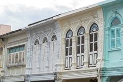 Городок Пхукета старый: Китайско-португальские здания архитектуры Этот архитектурный стиль европеец смешанный с китайское совреме стоковая фотография
