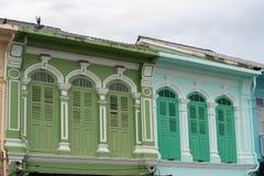Городок Пхукета старый: Китайско-португальские здания архитектуры Этот архитектурный стиль европеец смешанный с китайское совреме стоковые изображения