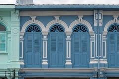 Городок Пхукета старый: Китайско-португальские здания архитектуры Этот архитектурный стиль европеец смешанный с китайское совреме стоковое изображение rf