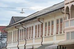 Городок Пхукета старый: Китайско-португальские здания архитектуры Этот архитектурный стиль европеец смешанный с китайское совреме стоковые фото