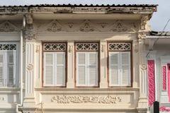 Городок Пхукета старый: Китайско-португальские здания архитектуры Этот архитектурный стиль европеец смешанный с китайское совреме стоковые изображения rf
