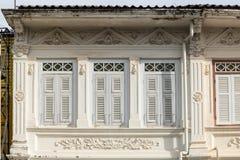 Городок Пхукета старый: Китайско-португальские здания архитектуры Этот архитектурный стиль европеец смешанный с китайское совреме стоковое фото