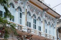 Городок Пхукета старый: Китайско-португальские здания архитектуры Этот архитектурный стиль европеец смешанный с китайское совреме стоковое изображение