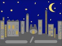 городок силуэта Бесплатная Иллюстрация