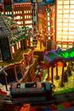 Городок с мульти-цветами домов, офисное здание пряника, I стоковое изображение