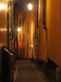городок улицы ночи старый Стоковые Фотографии RF