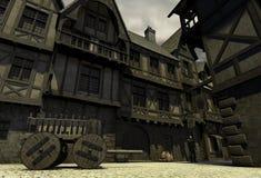городок фантазии средневековый иллюстрация вектора