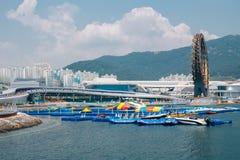 Городок экспо Йосу, море и современная архитектура в Йосу, Корее стоковые фотографии rf