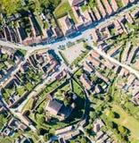 Городок Biertan и лютеранин Biertan церковь-крепость i евангелистская стоковая фотография