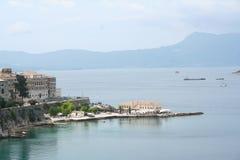 городок corfu Греции Стоковые Изображения