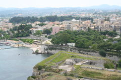 городок corfu Греции Стоковые Изображения RF