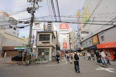 Городок Denden зона вдоль улицы Nipponbashi, Осака Стоковые Изображения