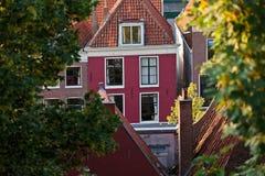 городок leiden голландской исторической дома города старый Стоковое Фото