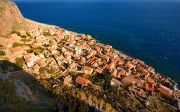 городок monemvasia замока стоковые фотографии rf