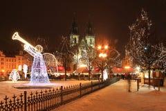 городок prague настроения рождества старый снежный квадратный Стоковые Изображения