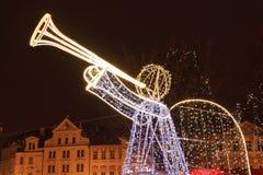 городок prague настроения рождества старый снежный квадратный Стоковое Фото