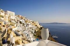 городок santorini Греции fira главный стоковая фотография