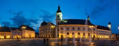 городок sibiu квадратный Стоковая Фотография