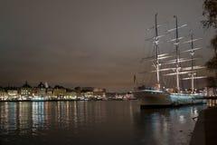 городок stockholm ночи старый Стоковая Фотография
