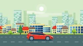 Городская анимация ландшафта с автомобилем на предпосылке горизонта дороги и города сток-видео